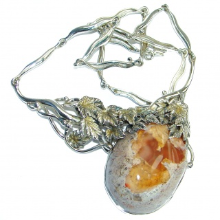 Large Master Piece genuine 150 ct Mexican Opal .925 Sterling Silver brilliantly handcrafted necklace