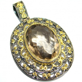 Antique Style Champagne Topaz Gold Rhodium over .925 Sterling Silver Pendant