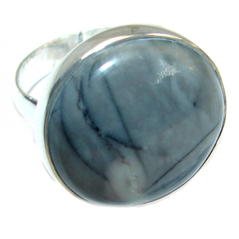 Picasso Jasper .925 Sterling Silver ring s. 8 adjustable