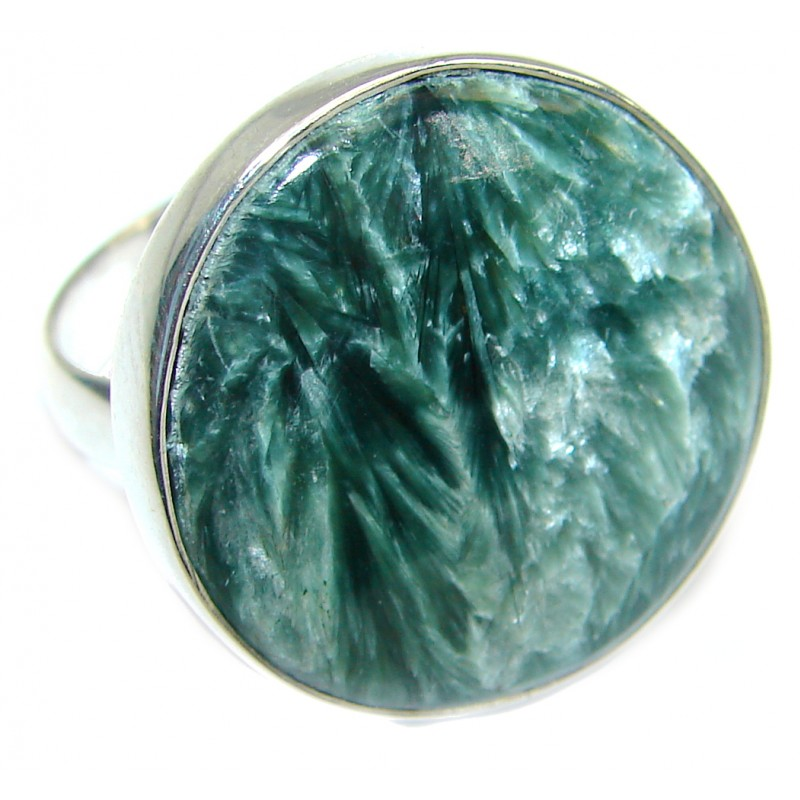 Great quality Green Russian Seraphinite Sterling Silver handmade Ring size 7 adjustable