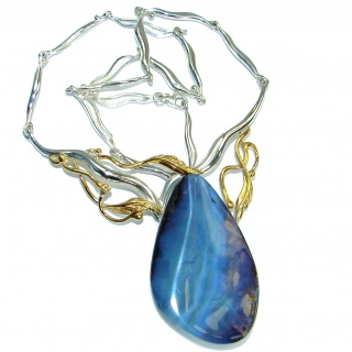 Spectacular genuine Australian Boulder Opal Two Tones .925 Sterling Silver brilliantly handcrafted necklace
