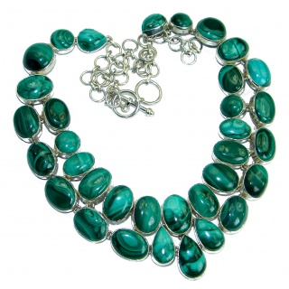Huge Authentic Green Malachite .925 Sterling Silver handmade necklace