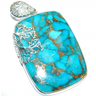 Huge Turquoise with Copper vains .925 Sterling Silver habndmade Pendant