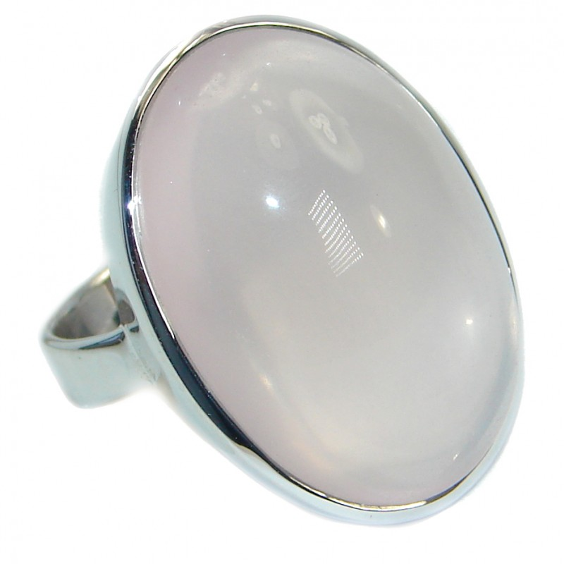 Huge Best Quality Rose Quartz .925 Sterling Silver ring s. 8
