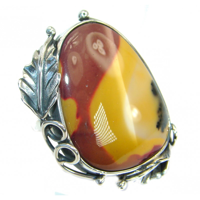 Huge Flawless Australian Mookaite .925 Sterling Silver handcrafted Ring size 8 adjustable