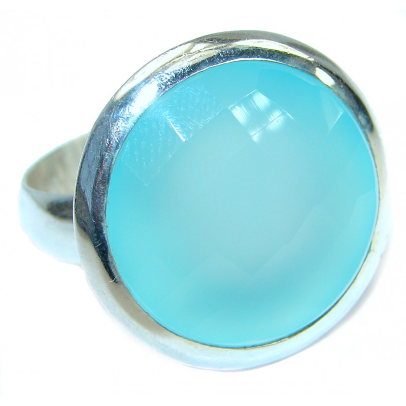 Blue Chalcedony Agate .925 Sterling Silver handcrafted Ring s. 11 1/4