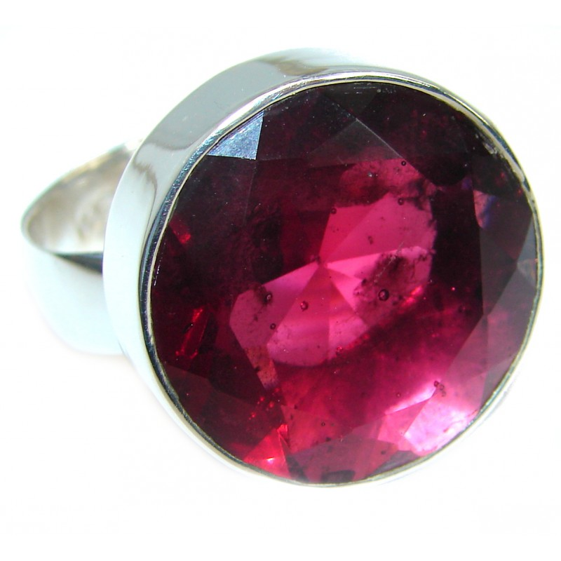 Raspberry Quartz .925 Sterling Silver handmade Ring s. 8 adjustable