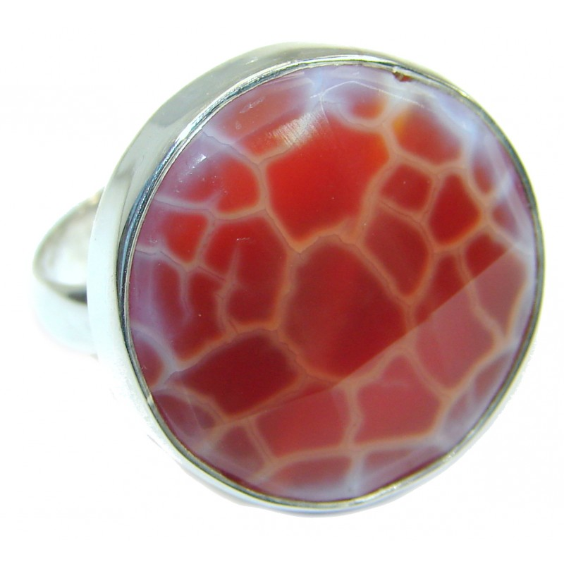 Mexican Agate .925 Silver handcrafted Ring s. 7 adjustable