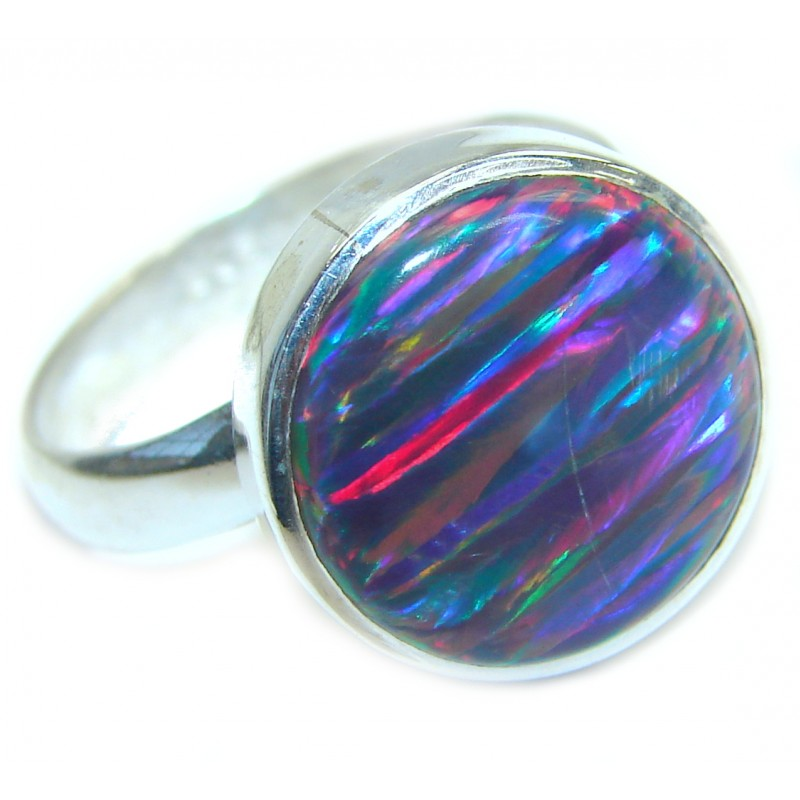 Australian Japanese Opal .925 Sterling Silver handcrafted ring size 7 adjustable
