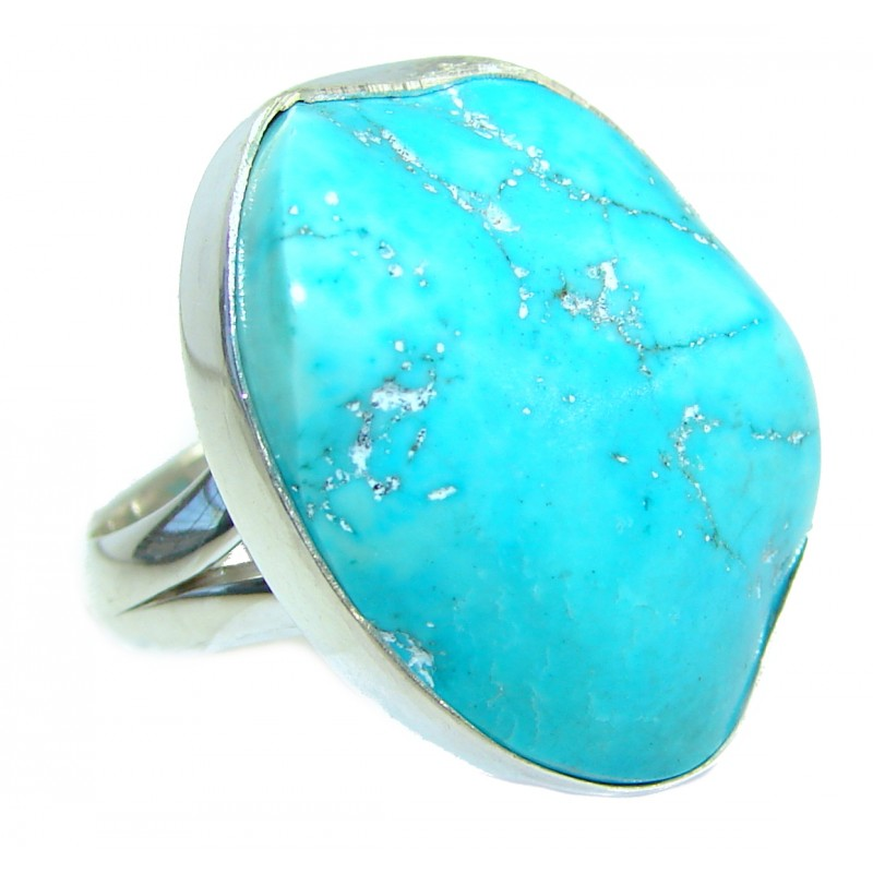 Huge Genuine Turquoise .925 Sterling Silver ring; s. 7 adjustable