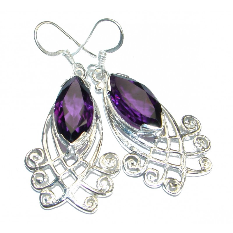 Simple Beauty Amethyst Silver Tone handmade earrings