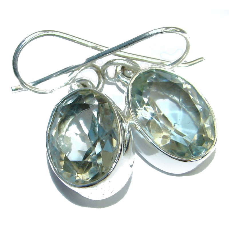 Simple Beauty Green Amethyst Silver Tone handmade earrings