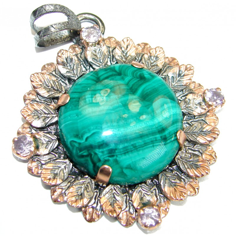 Big Malachite Gold over .925 Sterling Silver handmade Pendant