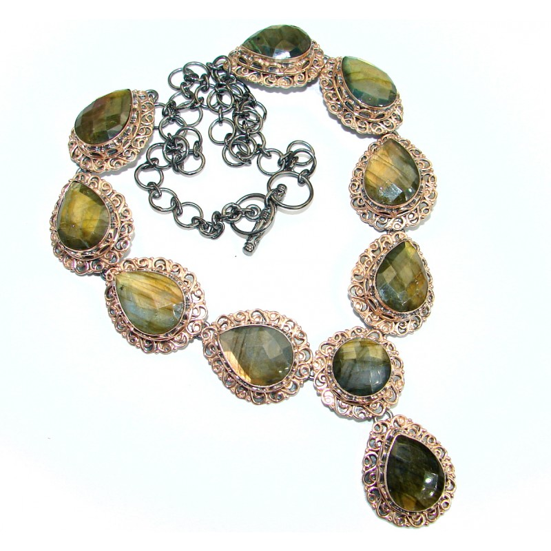 Chunky Cascade of Lights Labradorite Rose Gold Rhodium over .925 Sterling Silver entirely handcrafted necklace