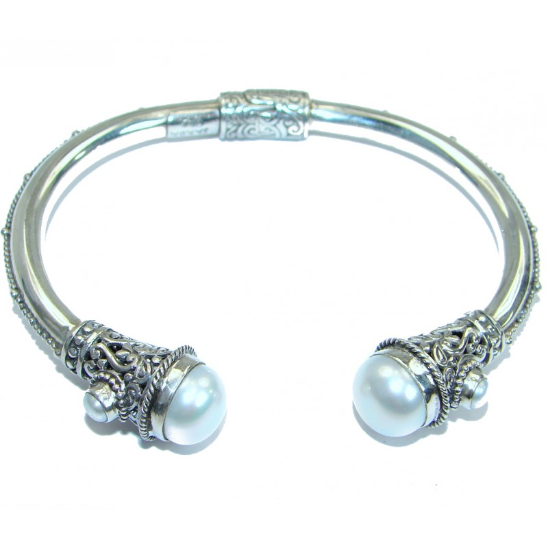Balinese Fresh water Pearl .925 Sterling Silver handcrafted Statement Bracelet / Cuff