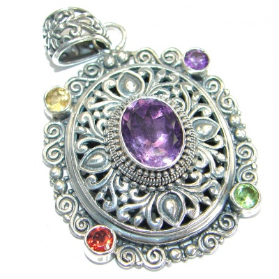 Universe Bali made Style Amethyst .925 Sterling Silver handmade Pendant