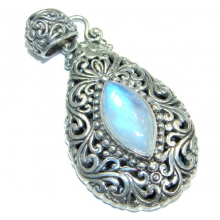 Simple Design Fire Moonstone .925 Sterling Silver handmade Pendant