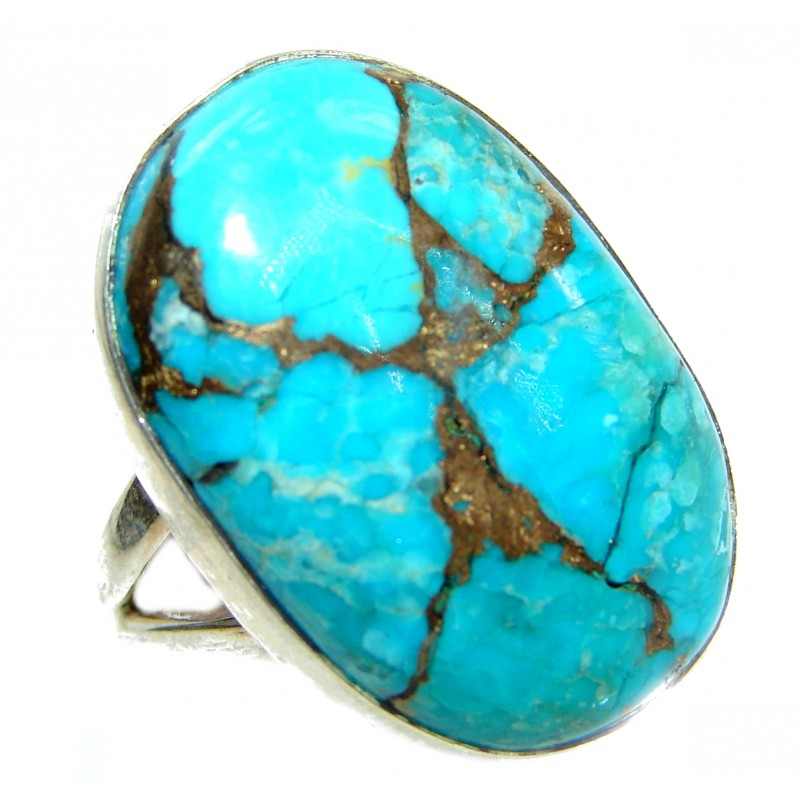 Copper Turquoise .925 Sterling Silver handmade Ring s. 7 3/4