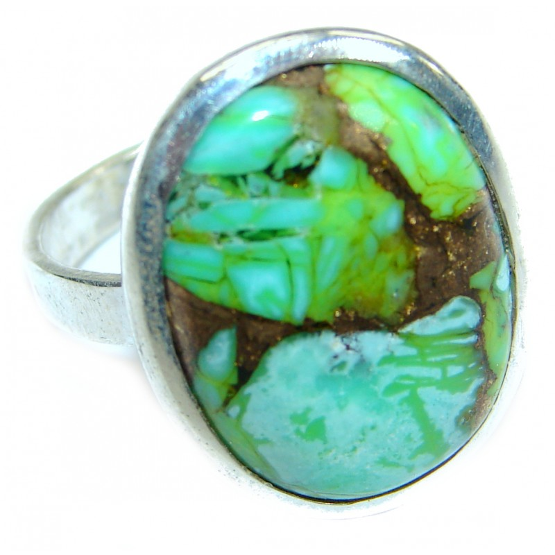 Copper Turquoise .925 Sterling Silver ring; s. 6 1/2