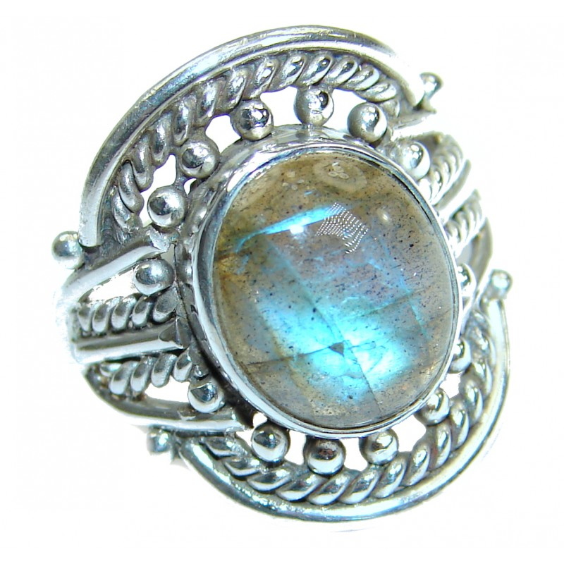 Fire Labradorite .925 Sterling Silver handmade ring size 8