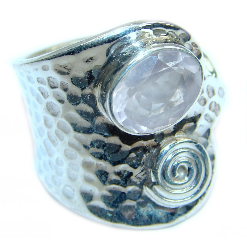 Great Bali Made Pure Rose Quartz .925 Sterling Silver ring s. 7