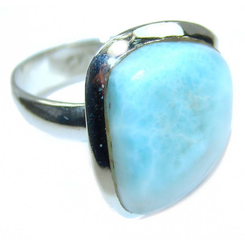 Genuine Larimar .925 Sterling Silver handcrafted ring size 7 adjustable