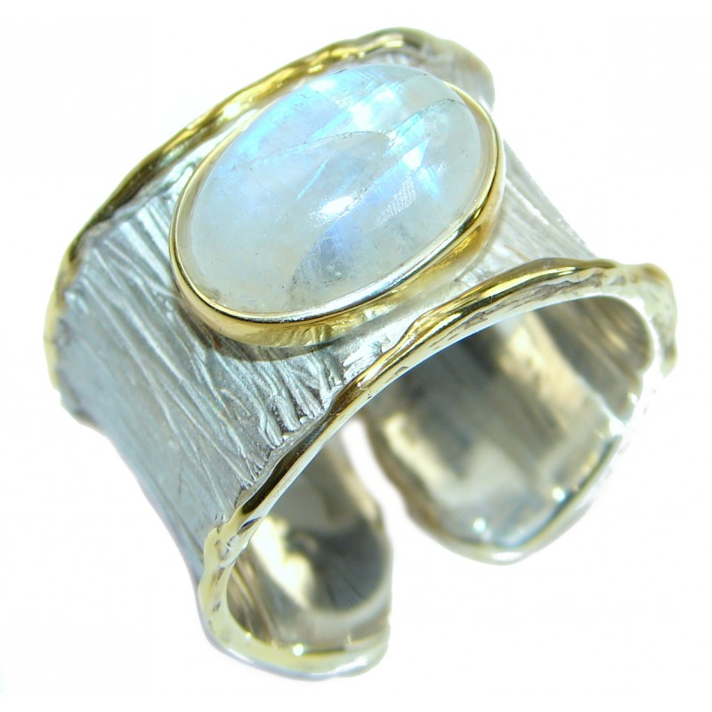 Fire Moonstone 18 K Gold over .925 Sterling Silver handcrafted ring size 10 adjustable