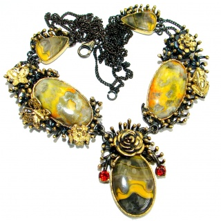 Bohemian Style natural Bumble Bee Jasper Two tones .925 Silver handmade Necklace