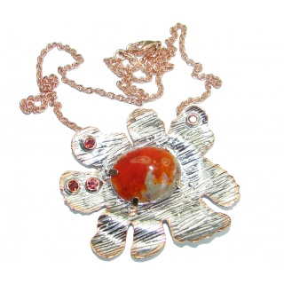 Mexican Fire Opal Garnet Rose Gold over .925 Sterling Silver handmade Necklace