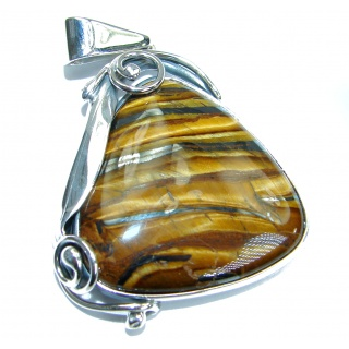 Incredible quality Silky Golden Tigers Eye .925 Sterling Silver handmade Pendant
