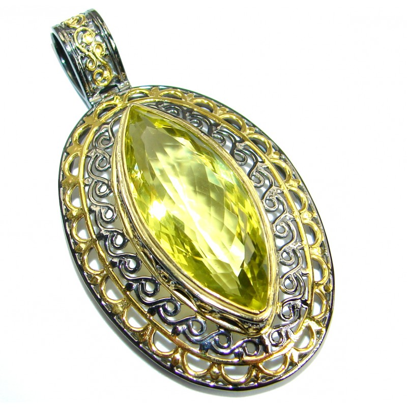 Vintage Design Genuine Lemon Quartz .925 Sterling Silver handcrafted pendant