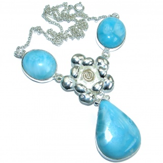 Floral Design genuine Larimar oxidized .925 Sterling Silver handmade necklace
