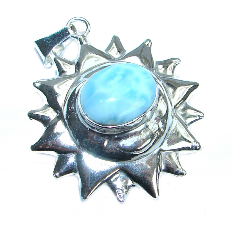 Day and Night great Larimar .925 Sterling Silver handmade pendant
