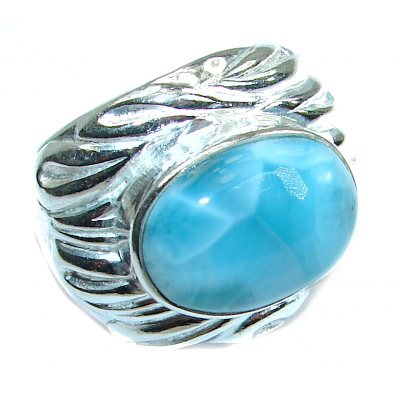 Ocean Waves Larimar .925 Sterling Silver handcrafted ring size 6 3/4