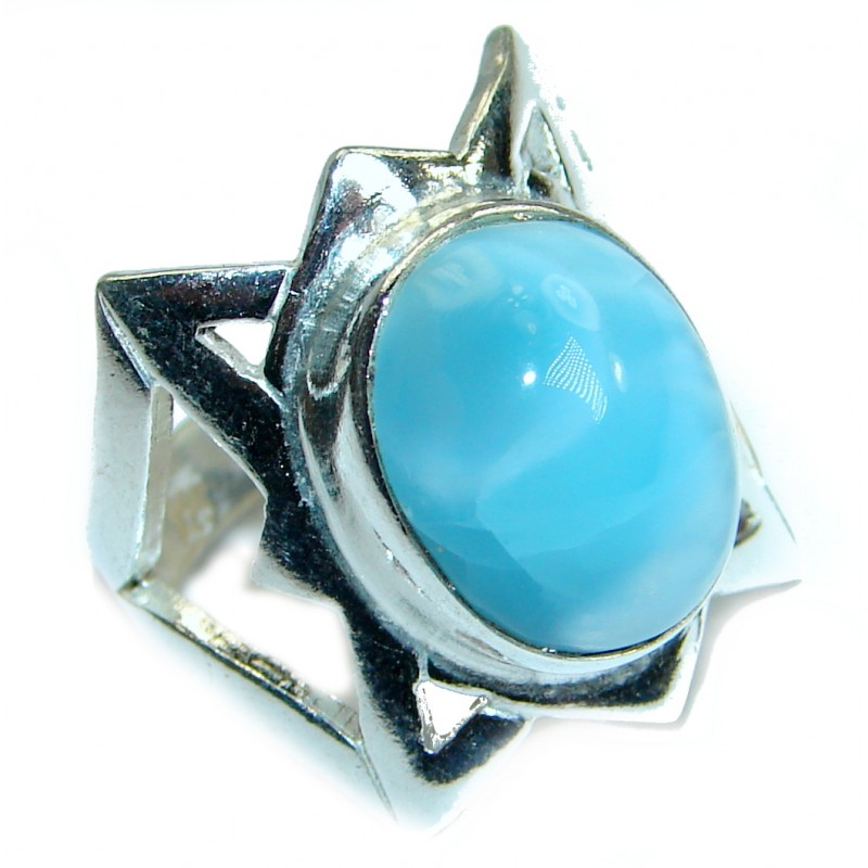 Genuine Larimar .925 Sterling Silver handcrafted ring size 6