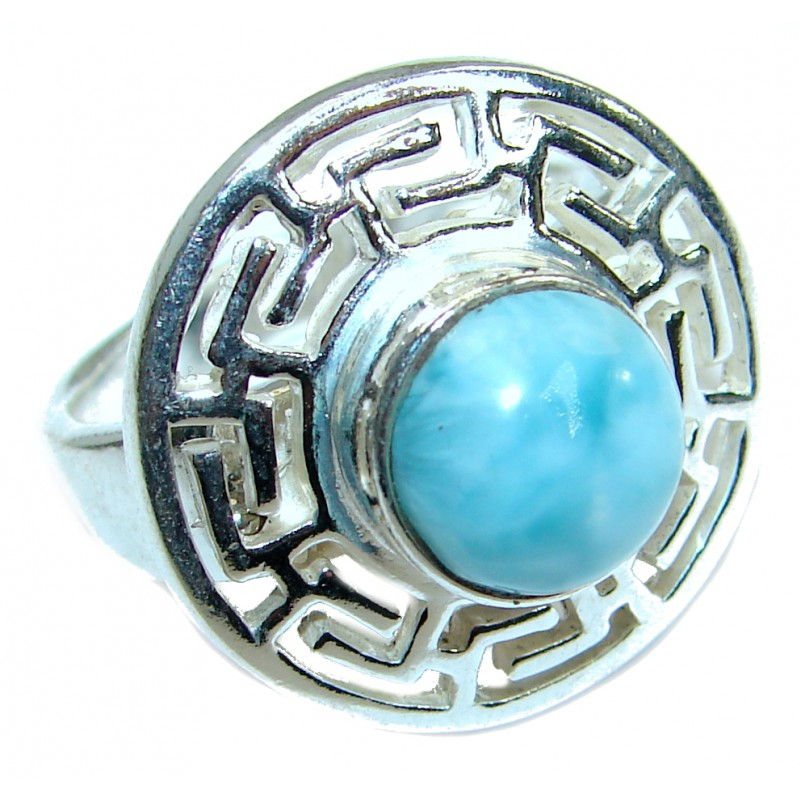 Ocean Waves Larimar .925 Sterling Silver handcrafted ring size 8
