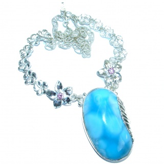 Floral Design genuine Larimar Pink Topaz .925 Sterling Silver handmade necklace