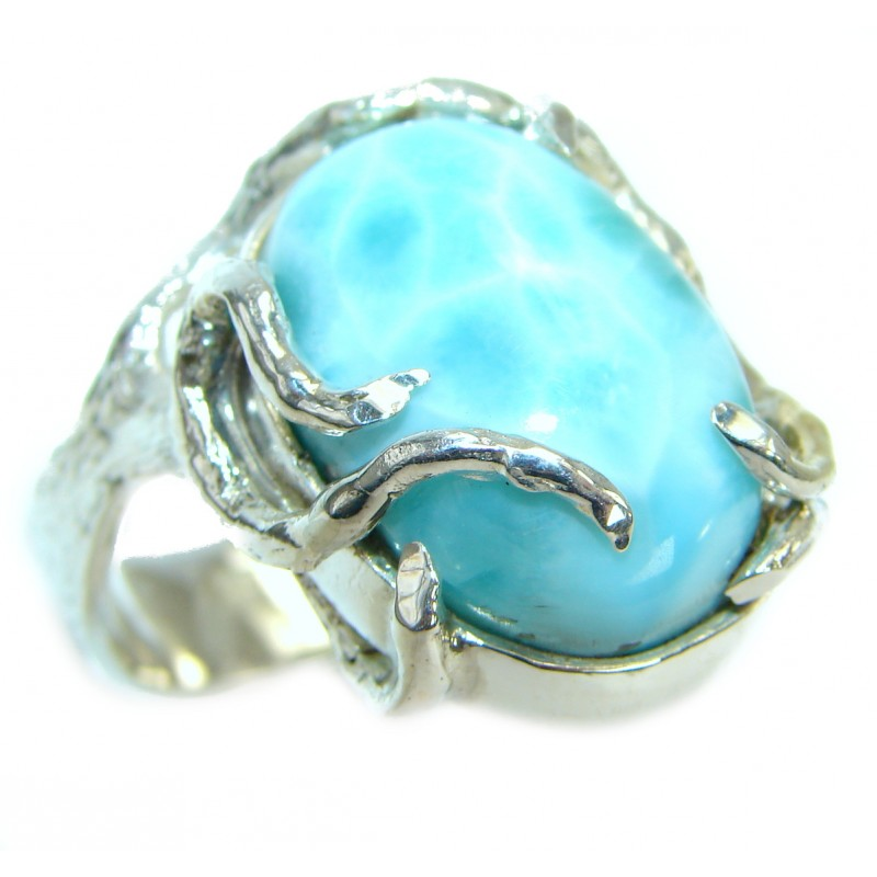 Genuine Larimar .925 Sterling Silver handcrafted ring size 9