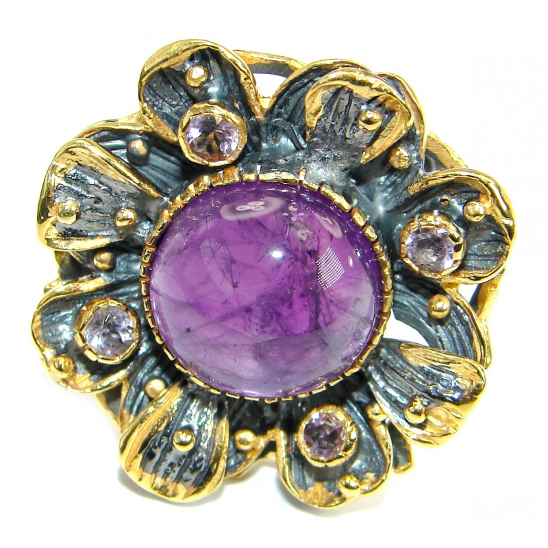 Energazing genuine Amethyst 14K Gold over .925 Sterling Silver Ring size 8 1/4