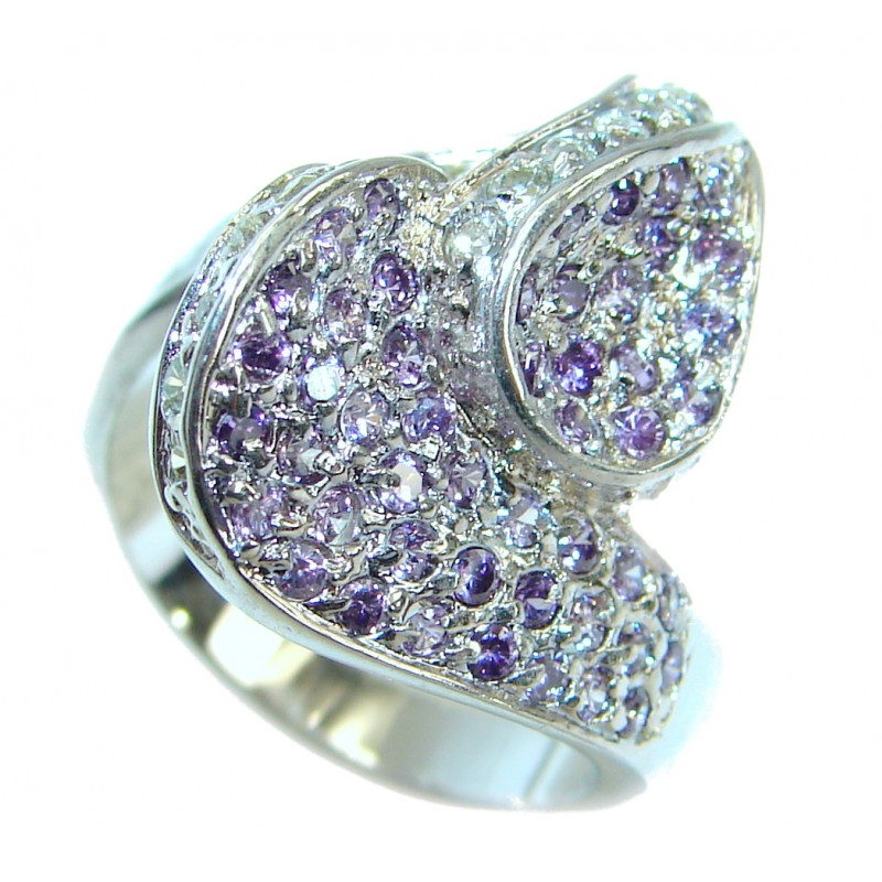 Magic genuine Amethyst .925 Sterling Silver handmade Cocktail Ring s. 6