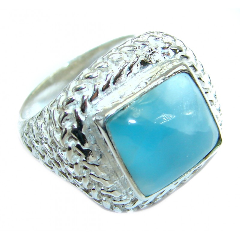 Ocean Waves Larimar .925 Sterling Silver handcrafted ring size 7