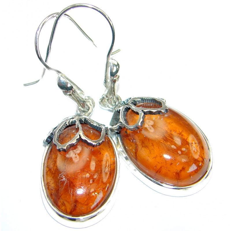 Big Stunning Brazilian Garnet .925 Sterling Silver handmade Earrings