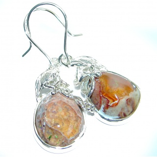 Unique genuine Mexican Fire Opal .925 Sterling Silver handmade earrings