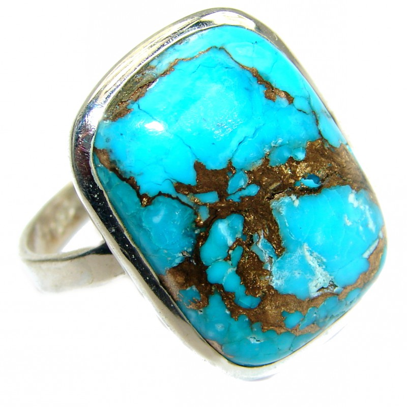 Copper Turquoise .925 Sterling Silver ring; s. 12