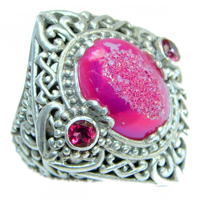 Bali Dream Raspberry Titanium Druzy .925 Sterling Silver handmade Ring s. 7 1/2