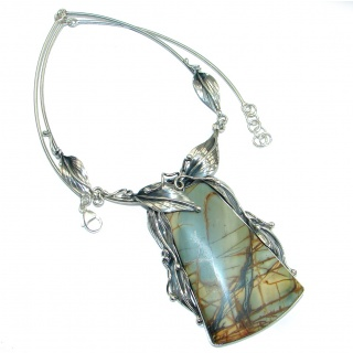 True ART Very Dramatic genuine Morrisonite oxidized .925 Sterling Silver handmade necklace