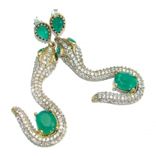 Victorian Style! Snakes Emerald & White Topaz .925 Sterling Silver earrings