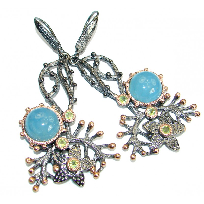 Byzantine Style genuine Aquamarine Rose Gold Rhodium .925 Sterling Silver handmade earrings