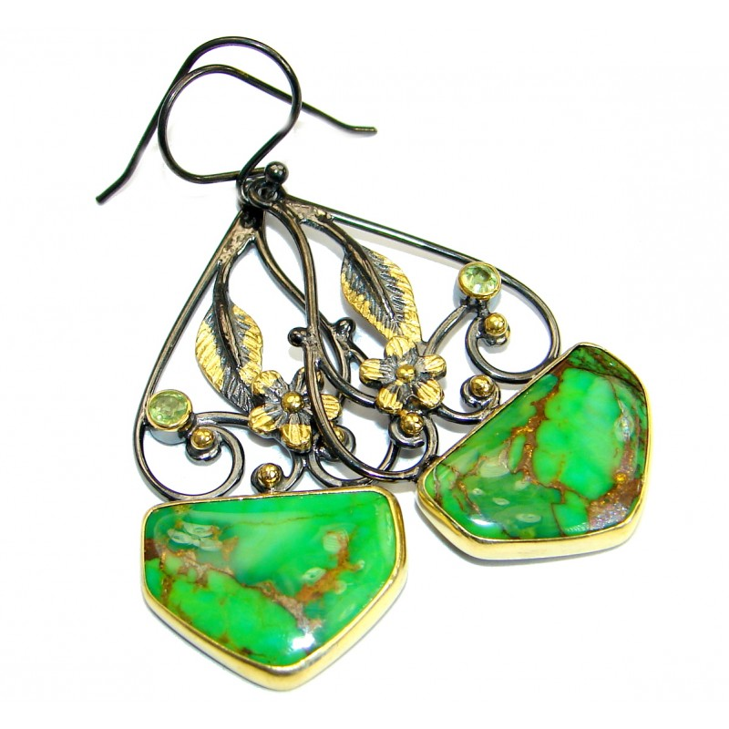 Green Turquoise .925 Sterling Silver handmade earrings