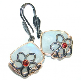 Stylish Fire Moonstone .925 Sterling Silver handmade earrings